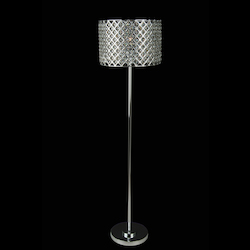 Bethel 1 Light Silver Frame Clear Crystal Floor Lamp