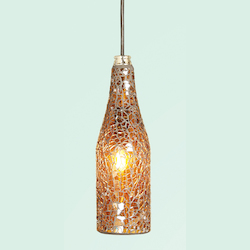 Bethel 1 Light Amber Mosaic Glass Pendant Ceiling Fixture