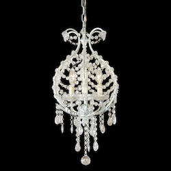 Bethel 3 Light White Frame Clear Crystal Ceiling Light