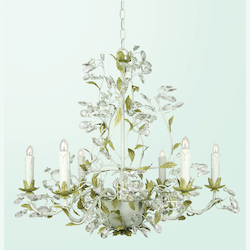 Bethel 6 Light Two Tone Green Leaf Clear Crystal Ceilg Fixture