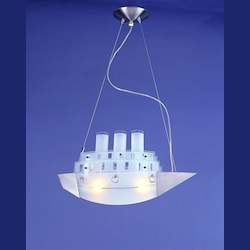 2 Light Nickle Finish Boat Shape Ceiling Fixture