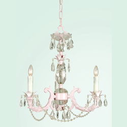 Bethel 3 Light Pink Color Cast Body Crystal Ceiling Fixture