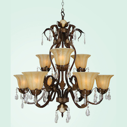 Bethel 9 Light White Crystal Drop Amber Glass Shade