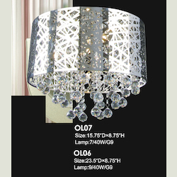 9 Light Chrome Shade Clear Crystal Ceiling Fixture
