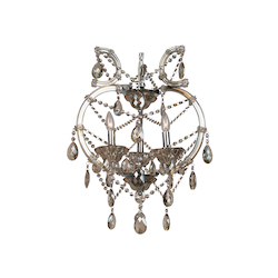 Bethel 3 Light Champagne Crystal And Iron Chrome Chandelier
