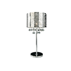 Bethel 1 Light Chrome Shade Clear Crystal Table Lamp