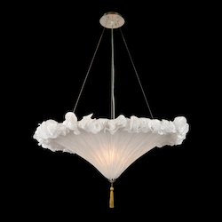 Bethel 3 Light White Fabric Shade Ceiling Fixture