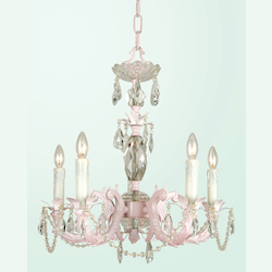 Bethel 5 Light Pink Color Cast Body Crystal Ceiling Fixture