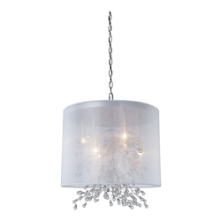 Artcraft Six Light Chrome Organza Shade Drum Shade Pendant