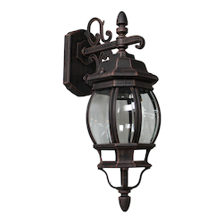 Artcraft One Light Rust Clear Glass Wall Lantern