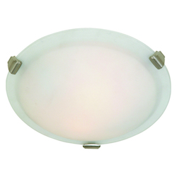 Artcraft Four Light Brushed Nickel Semi-Clear White Glass Bowl Flush Mount