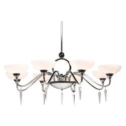Artcraft Eight Light Chrome White Shapely Glass Up Chandelier