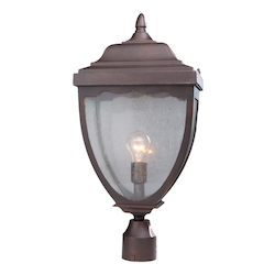 Artcraft One Light Oil Rubbed Bronze Clear Seeded Glass Post Light