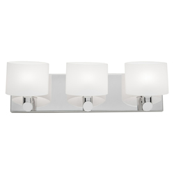 Artcraft Three Light Chrome Frosted White Glass Vanity
