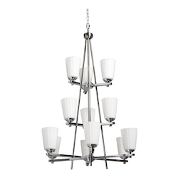 Artcraft Twelve Light Chrome Satin Acid Frosted Reeded Glass Up Chandelier