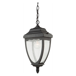 Artcraft One Light Black Clear Seeded Glass Hanging Lantern