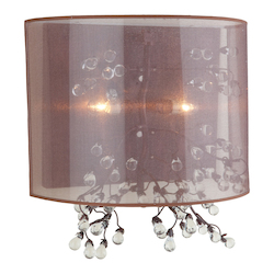 Artcraft Two Light Bronze Organza Shade Wall Light