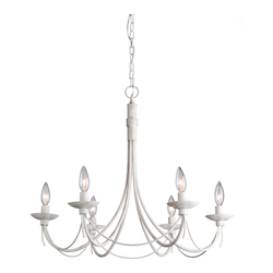 Artcraft Wrought Iron 6 Light  Antique White Chandelier