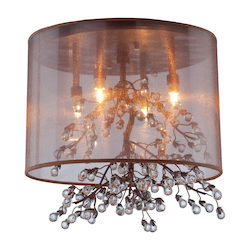 Artcraft Four Light Bronze Organza Shade Drum Shade Semi-Flush Mount