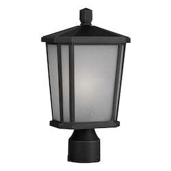 Artcraft One Light Oil Rubbed Bronze Interior-White, Outer-Etched Glass Post Li
