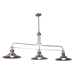 Artcraft Heath 3 Light  Satin Nickel Island Light