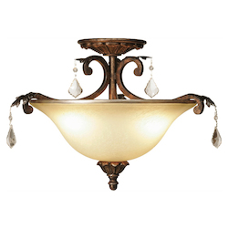 Artcraft Florence 3 Light  Oiled Bronze Semi Flush