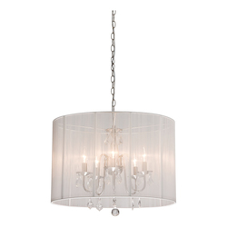 Artcraft Five Light Polished Nickel Silk String Shade Drum Shade Chandelier