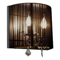Artcraft Two Light Polished Nickel Silk String Shade Wall Light