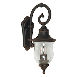 Artcraft Two Light Seeded Clear Glass Natural Bronze Wall Lantern