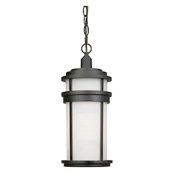Artcraft One Light Black White Glass Hanging Lantern