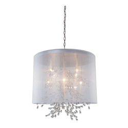 Artcraft Eight Light Chrome Organza Shade Drum Shade Pendant