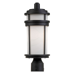Artcraft One Light Black White Glass Post Light