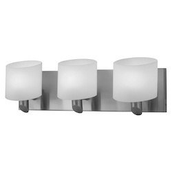 Artcraft Three Light Brushed Nickel Frosted White Glass Vanity