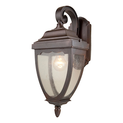 Artcraft One Light Oil Rubbed Bronze Clear Seeded Glass Wall Lantern