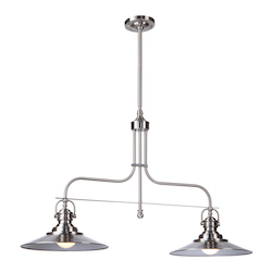 Artcraft Heath 2 Light  Satin Nickel Island Light