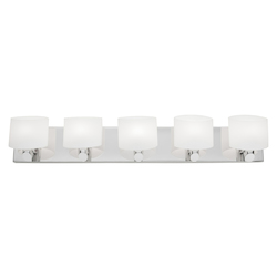 Artcraft Five Light Chrome Frosted White Glass Vanity