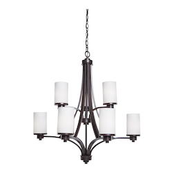 Artcraft Parkdale 9 Light  Oil Rubbed Bronze White Glass Chandelier