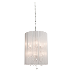 Artcraft Ten Light Polished Nickel Silk String Shade Drum Shade Pendant