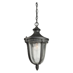Artcraft One Light Seeded Clear Glass Graphite Hanging Lantern