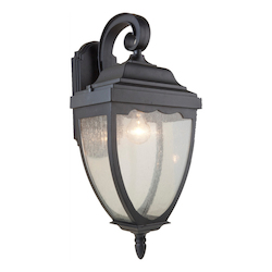 Artcraft One Light Black Clear Seeded Glass Wall Lantern