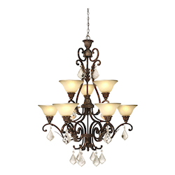 Artcraft Florence 9 Light  Oiled Bronze Chandelier