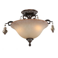 Artcraft Vienna 3 Light  Bronze Semi Flush