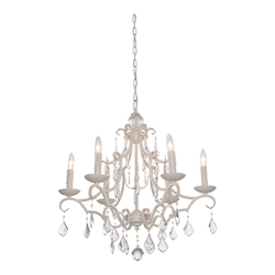 Artcraft Vintage 6 Light  Antique White Chandelier