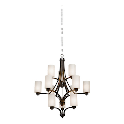 Artcraft Parkdale 12 Light  Oil Rubbed Bronze White Glass Chandelier
