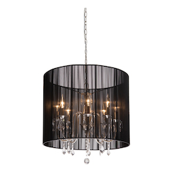 Artcraft Eight Light Polished Nickel Silk String Shade Up Chandelier