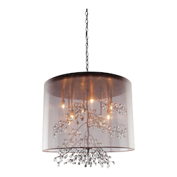 Artcraft Six Light Bronze Organza Shade Drum Shade Pendant