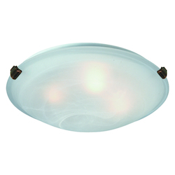 Artcraft Two Light Brushed Nickel Semi-Clear White Glass Bowl Flush Mount