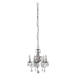 Artcraft Five Light Polished Nickel Silk String Shade Up Chandelier