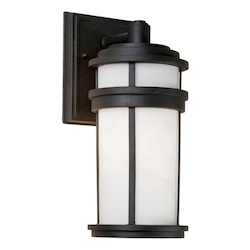 Artcraft One Light Black White Glass Wall Lantern