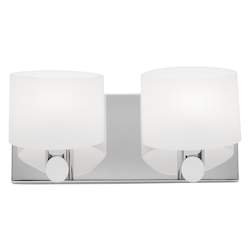 Artcraft Two Light Chrome Frosted White Glass Vanity